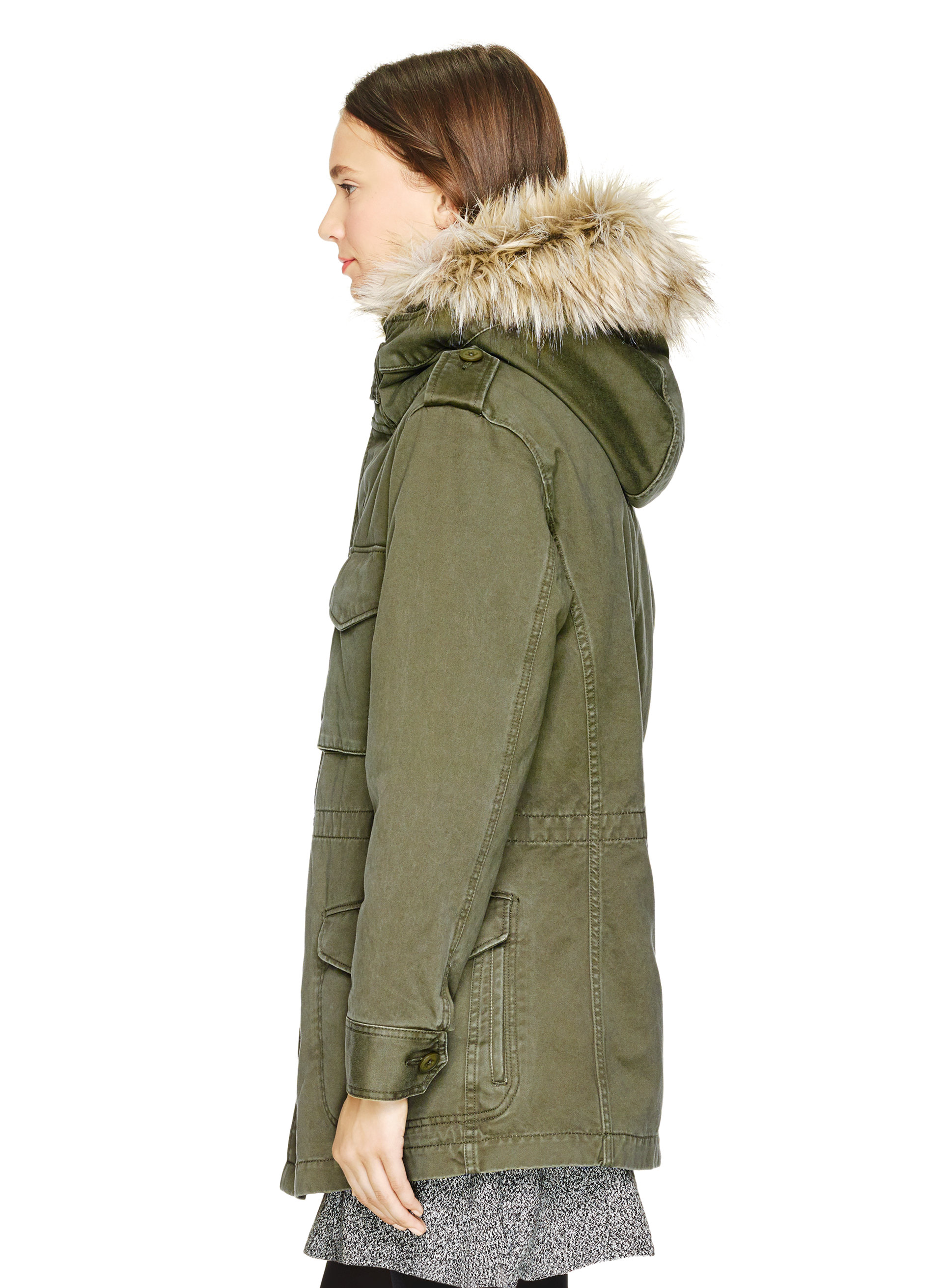 Aritzia green jacket with leather sleeves
