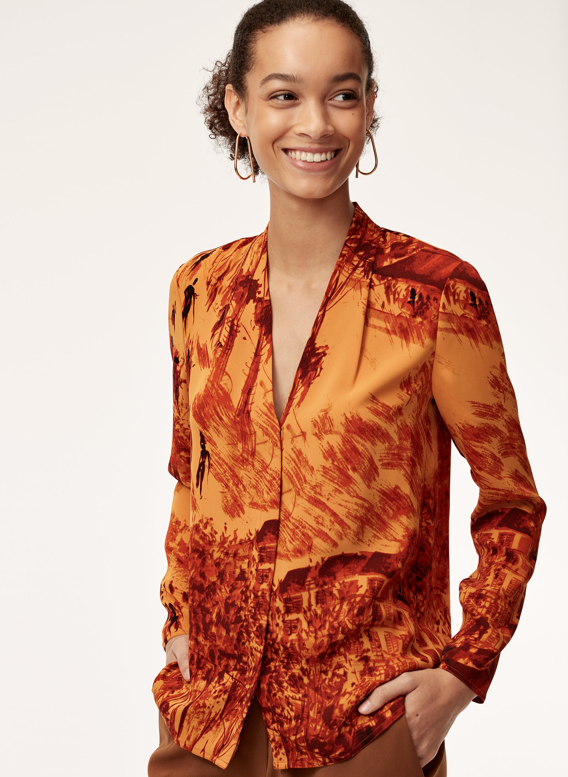 5cc0dcd10d54 AKIRA BLOUSE - Long-sleeve, matte satin blouse