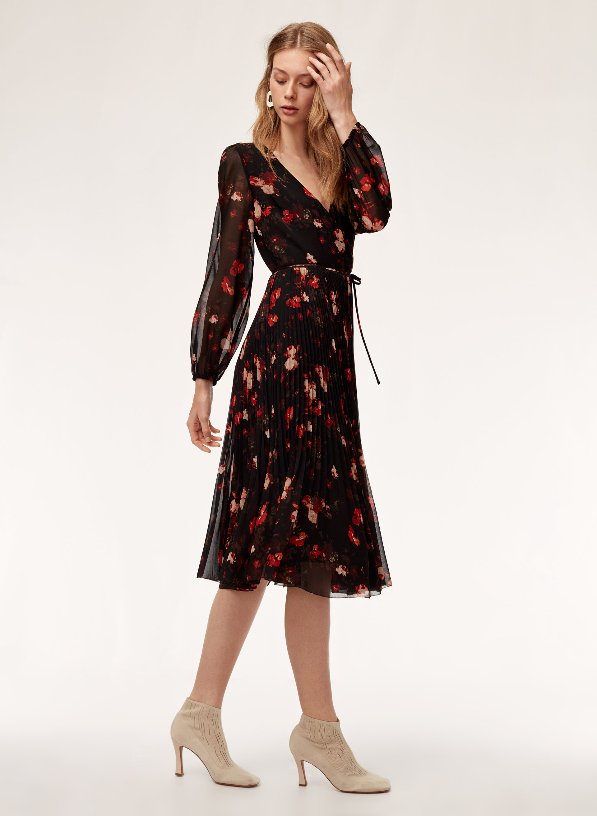 c6e7bb62cdac BEAUNE DRESS LSLV - Long-sleeve, pleated, printed wrap dress