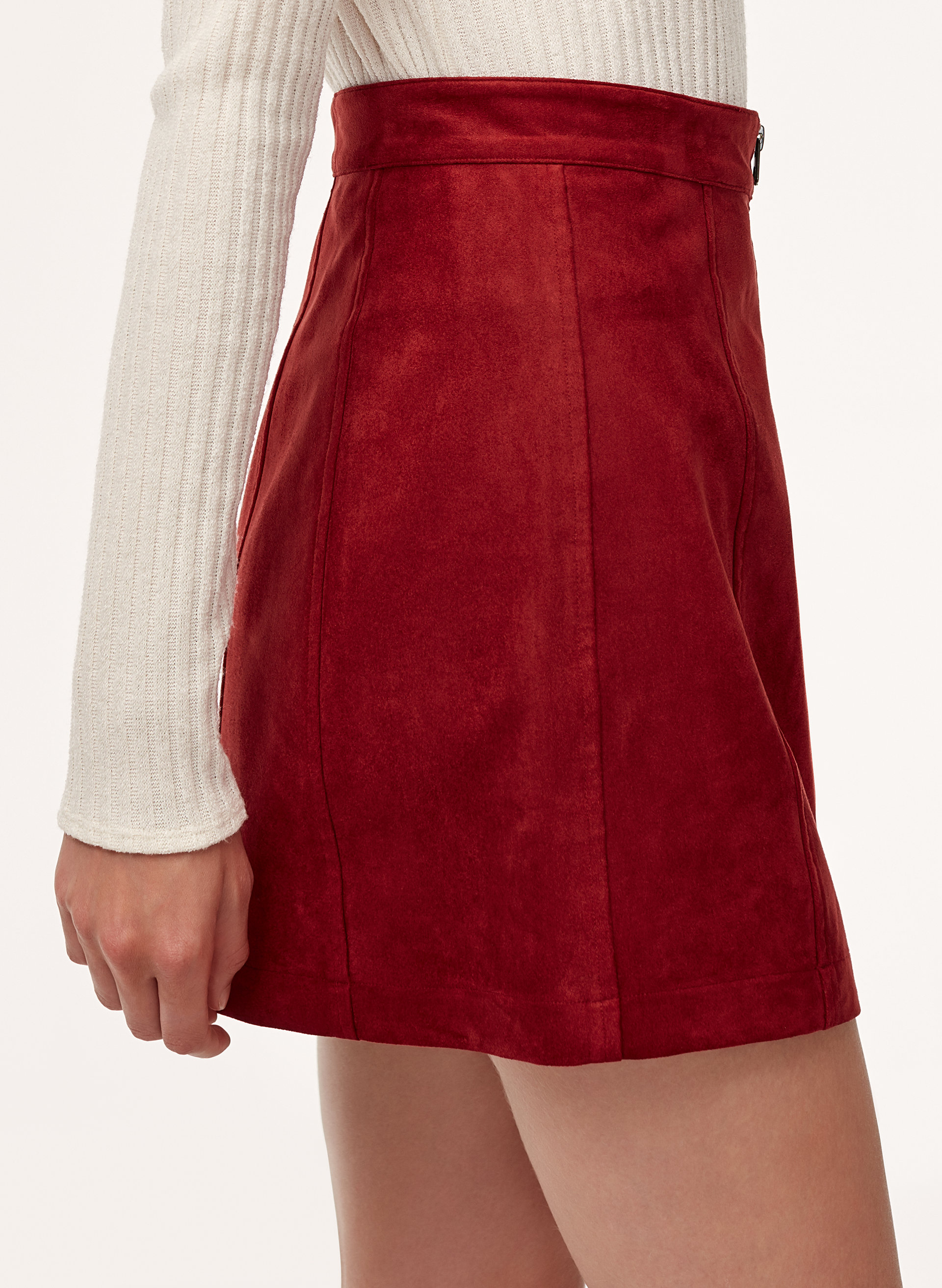 74953177ad LEAH SKIRT - Faux suede, zip-up mini skirt