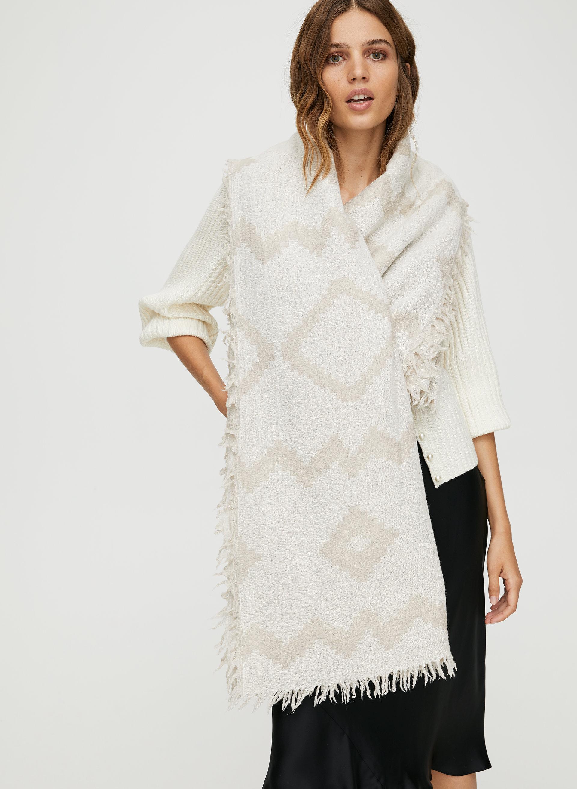 6d7b064e3f484 DIAMOND MOSAIC BLANKET SCARF - Patterned, wool blanket scarf
