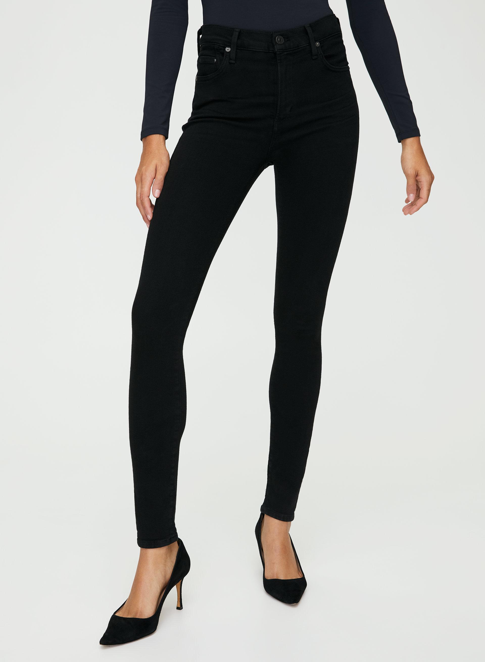 24 Citizens of Humanity Rocket High Rise Skinny Black Velour Ankle Crop Jeans