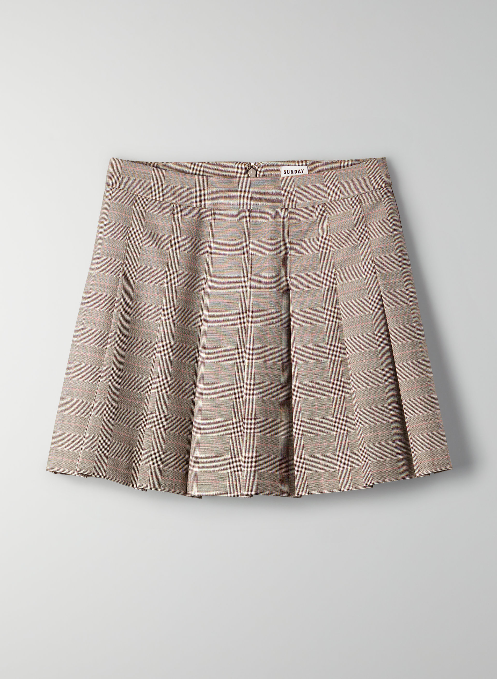 b53a649d31 OLIVE SKIRT - Pleated, plaid mini skirt
