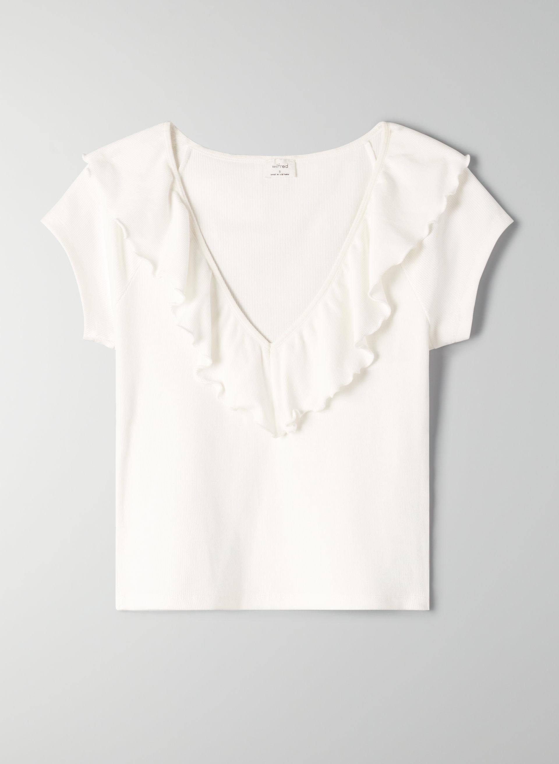 3efefcf97eb DANETTE T-SHIRT - Cropped, ruffled V-neck t-shirt