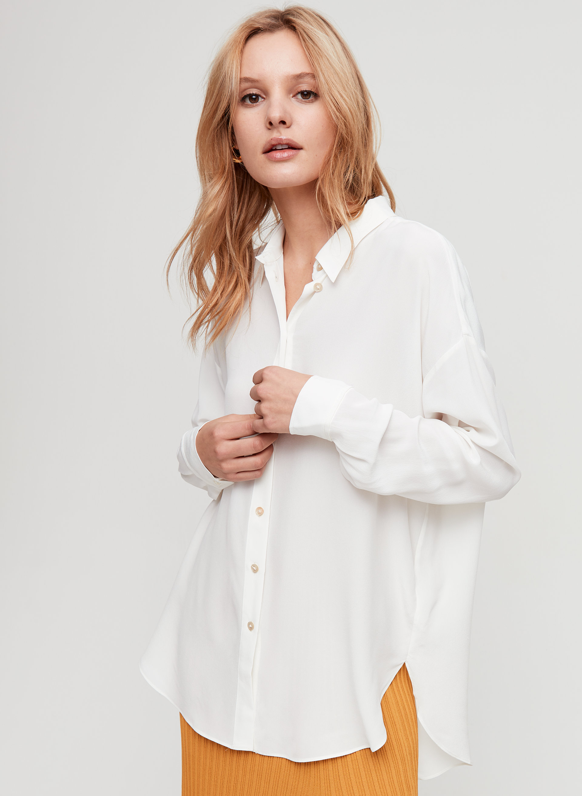 027d627a7 alma silk shirt Oversized button-up blouse