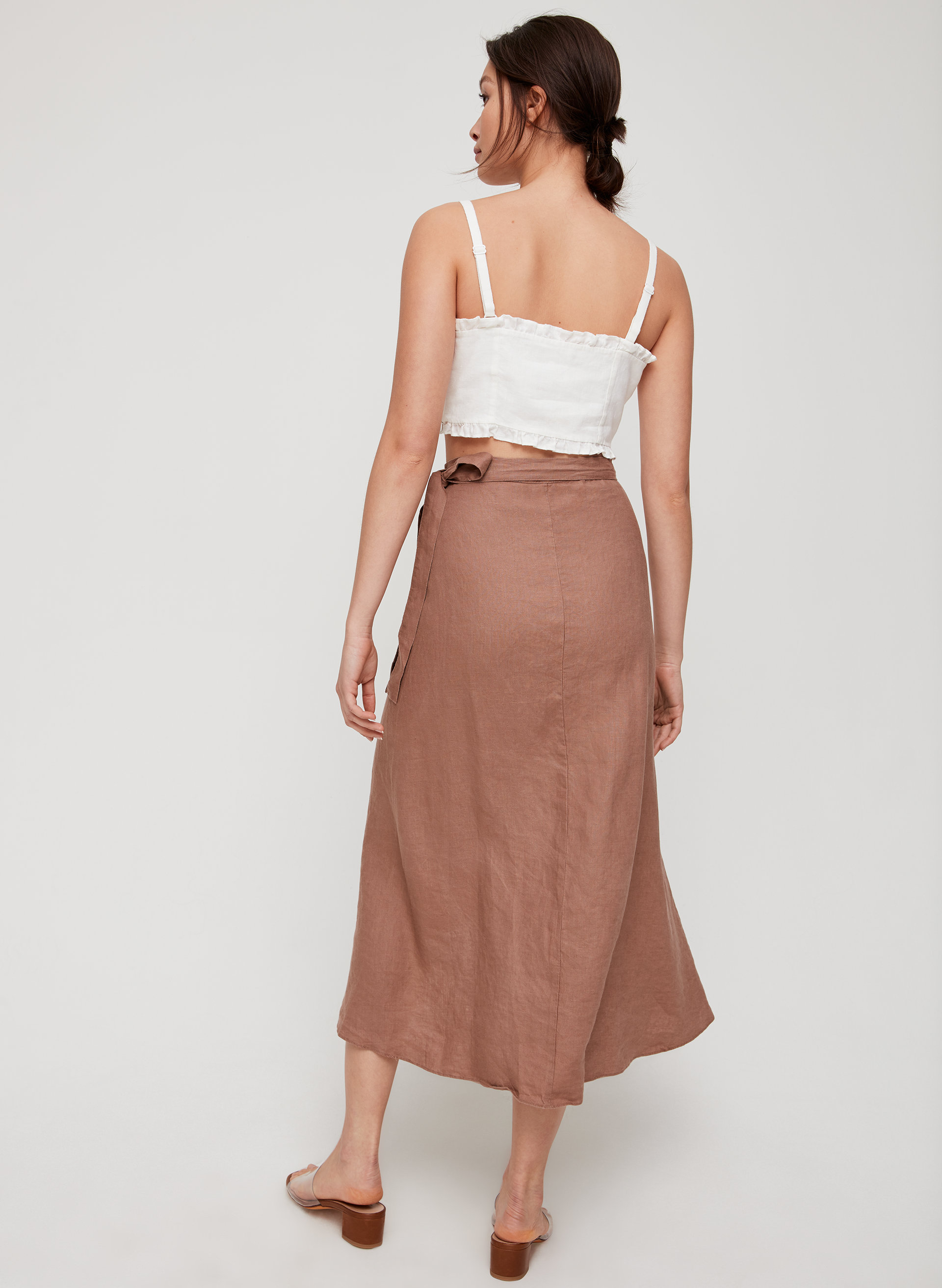 f57c52d294 ELETA SKIRT - Linen-blend, wrap midi skirt