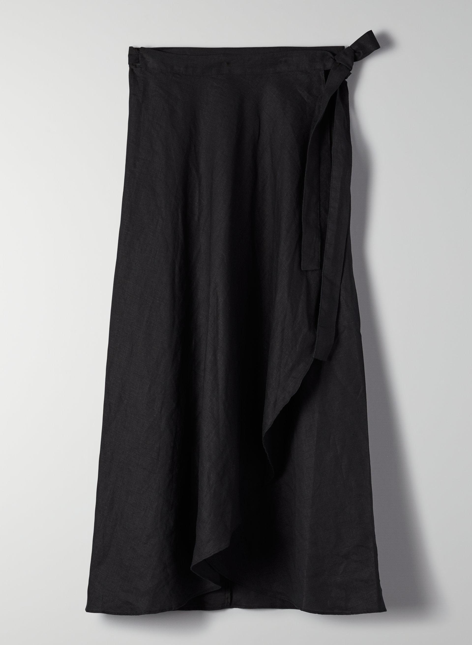 f707924fb61c78 ELETA SKIRT - Linen-blend, wrap midi skirt