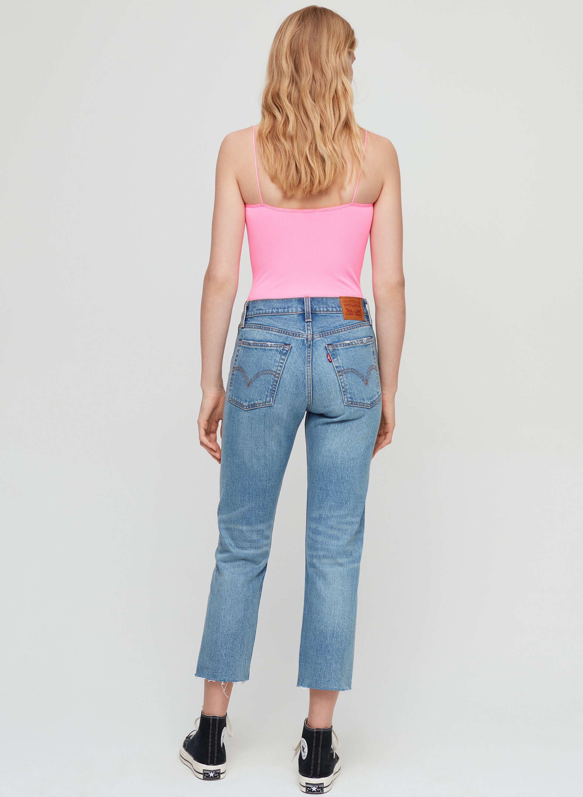 87f24f2e wedgie straight High-waisted, frayed-hem mom jean