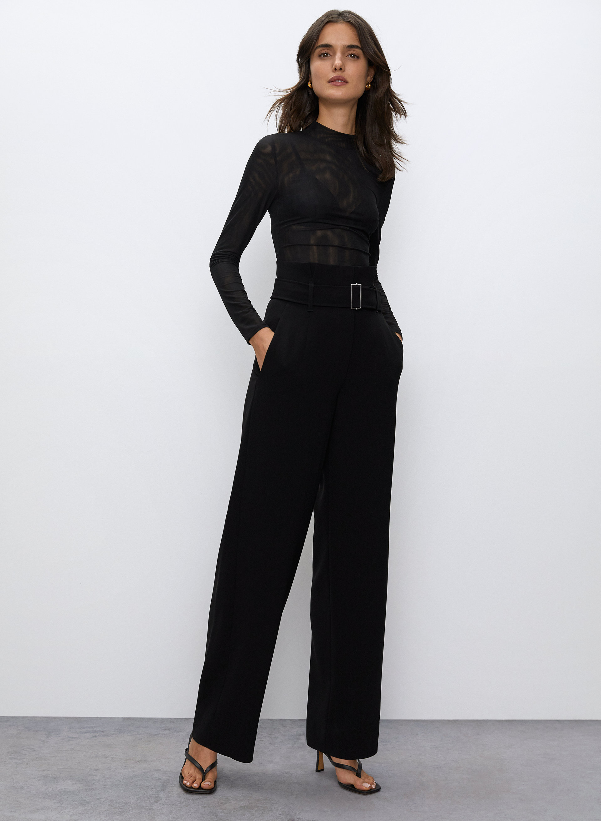 Womens Ladies Black Wide Leg High Waisted Sports Luxe Trouser