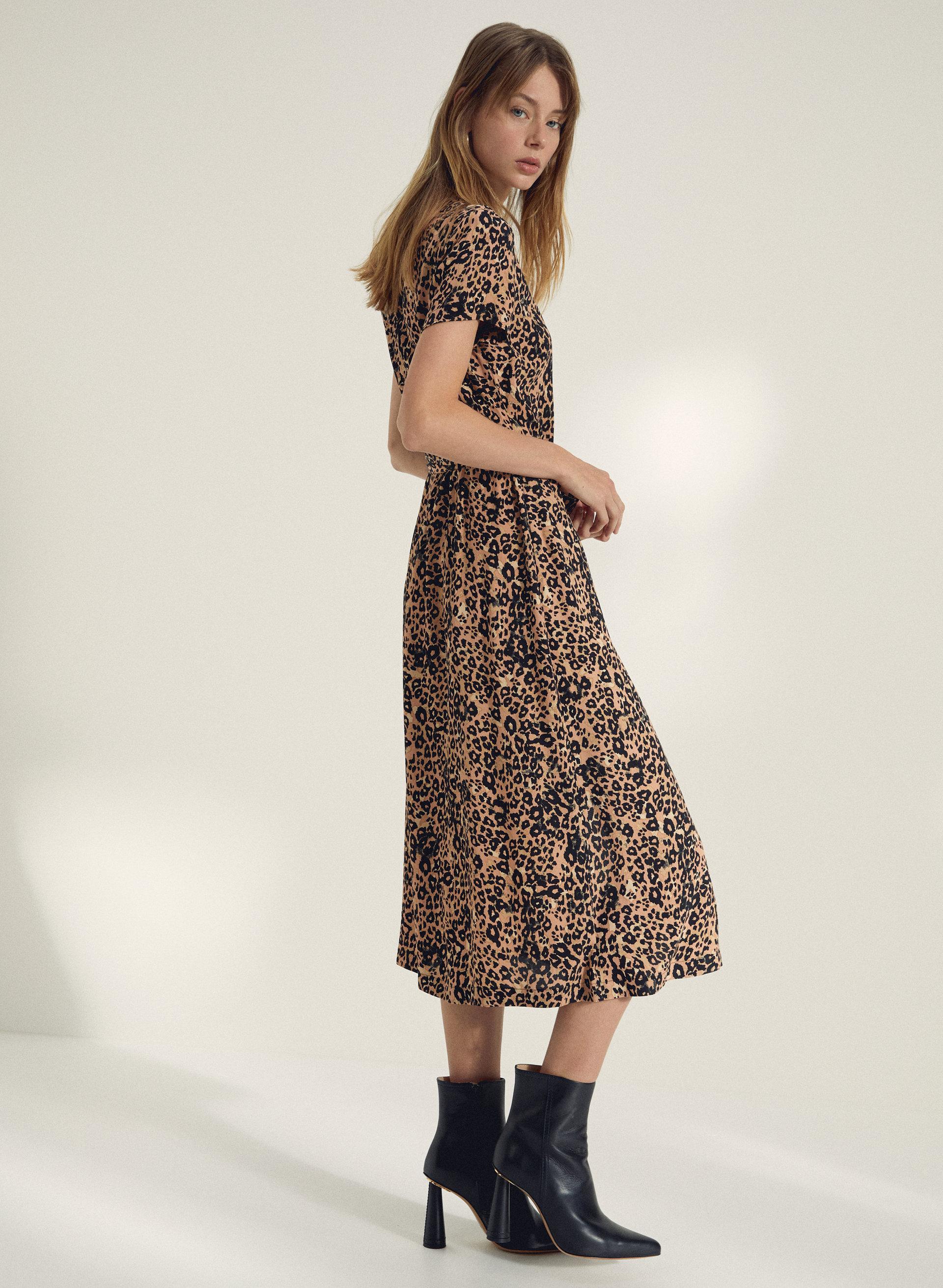 US Womens Leopard Print Short Sleeve Midi Dress Ladies Button Down Shirt Dresses