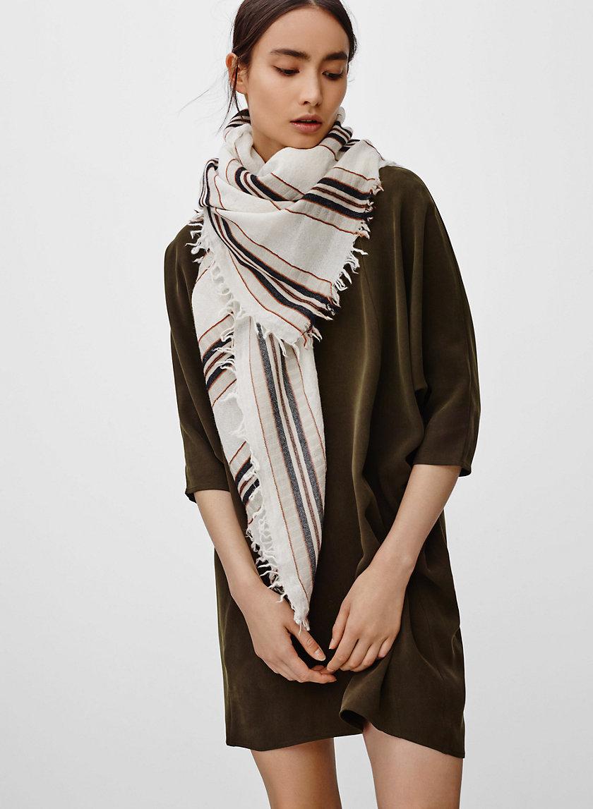 STRIPE BLANKET SCARF - Striped, wool blanket scarf