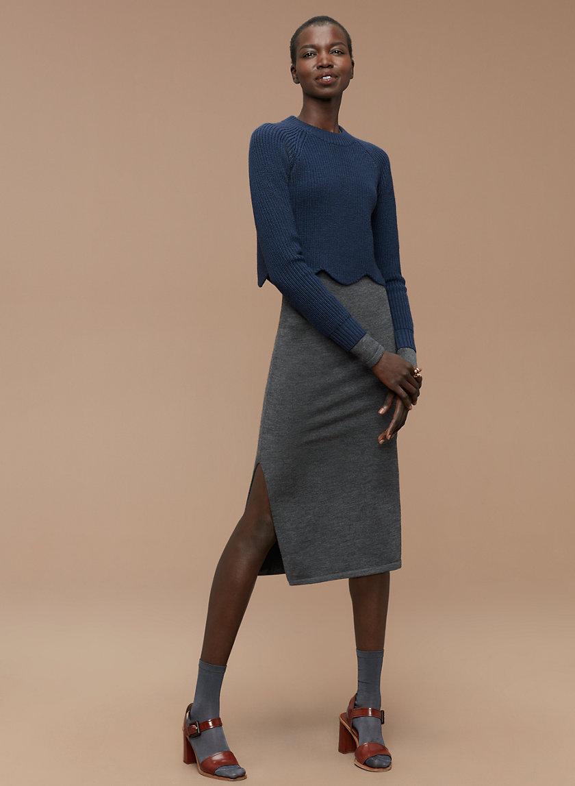 SARDOU SWEATER - Cropped, scalloped crewneck sweater