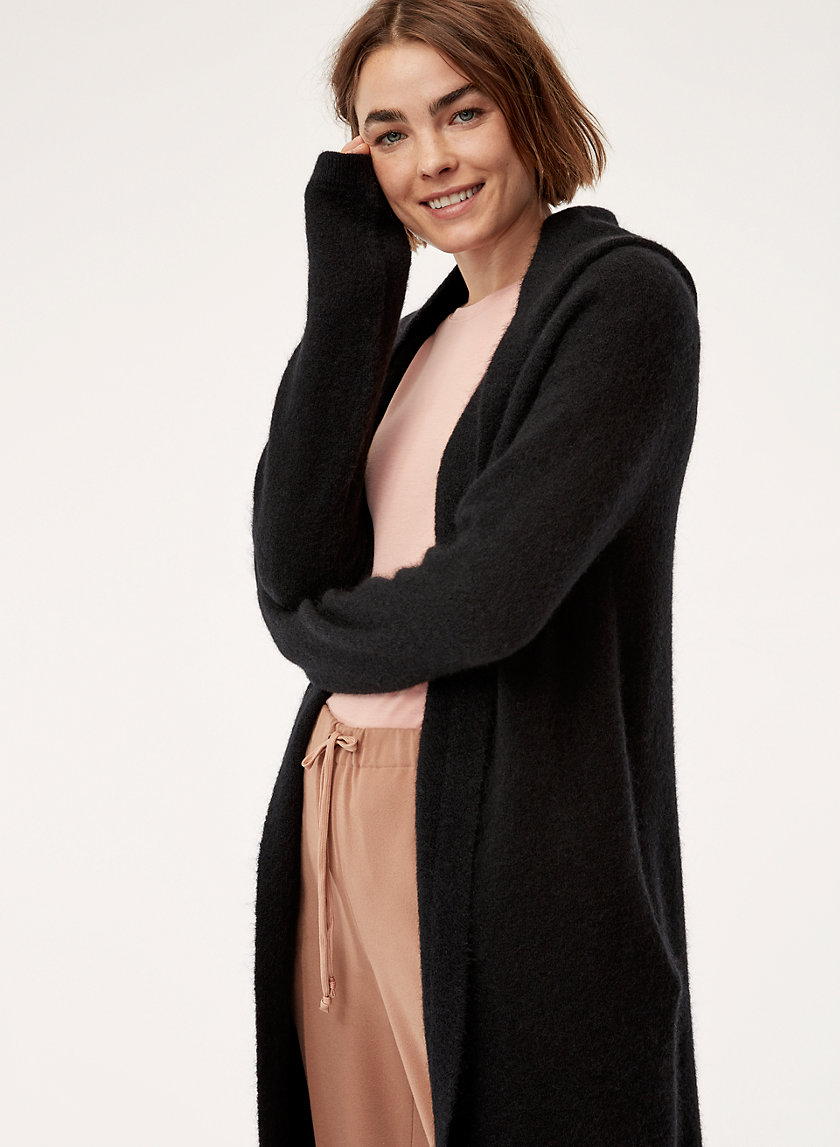 AMMONIUS SWEATER - Long, hooded cardigan with pockets