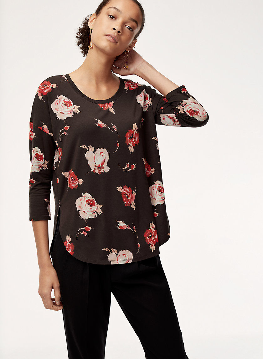 NORRIS T-SHIRT - 3/4 sleeve floral t-shirt