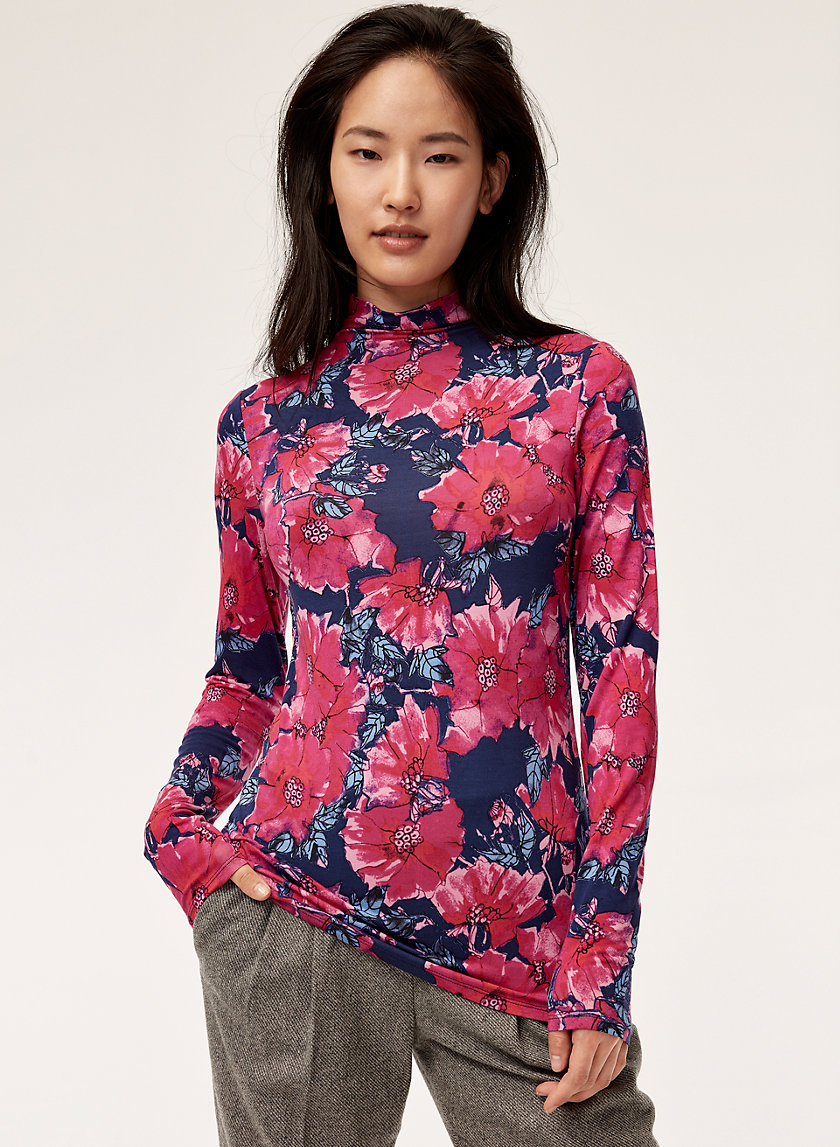 LARRY T-SHIRT - Floral, mock-neck t-shirt