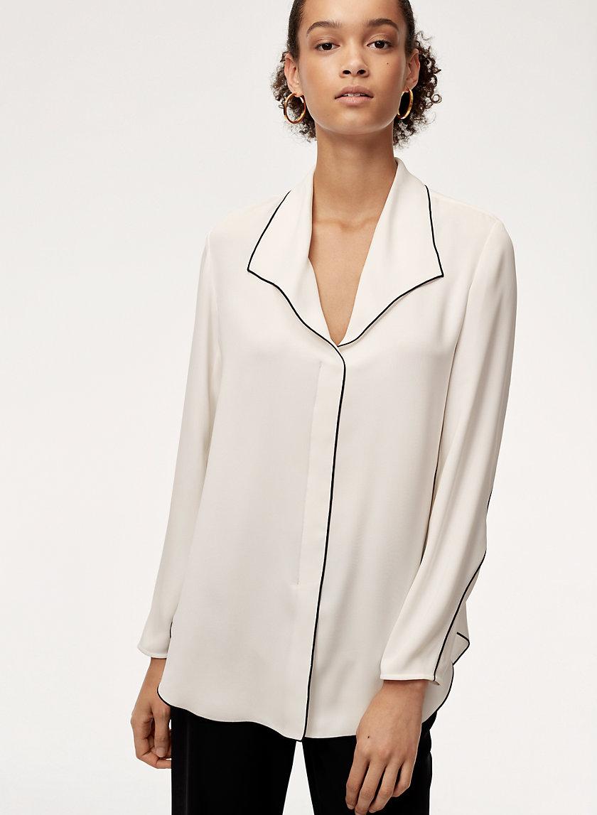 RENA SHIRT - Contrast-piping, matte-satin blouse