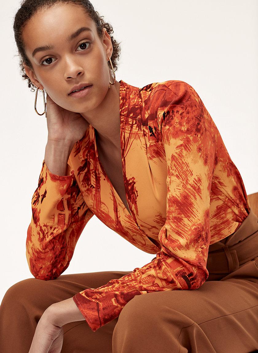AKIRA BLOUSE - Long-sleeve, matte satin blouse
