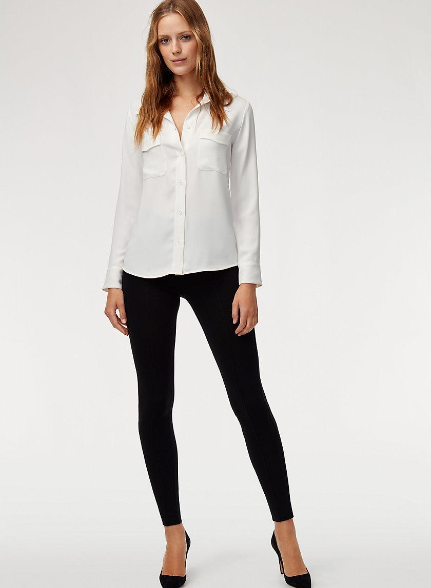 HARRISON SHIRT - Button-down, matte-satin blouse