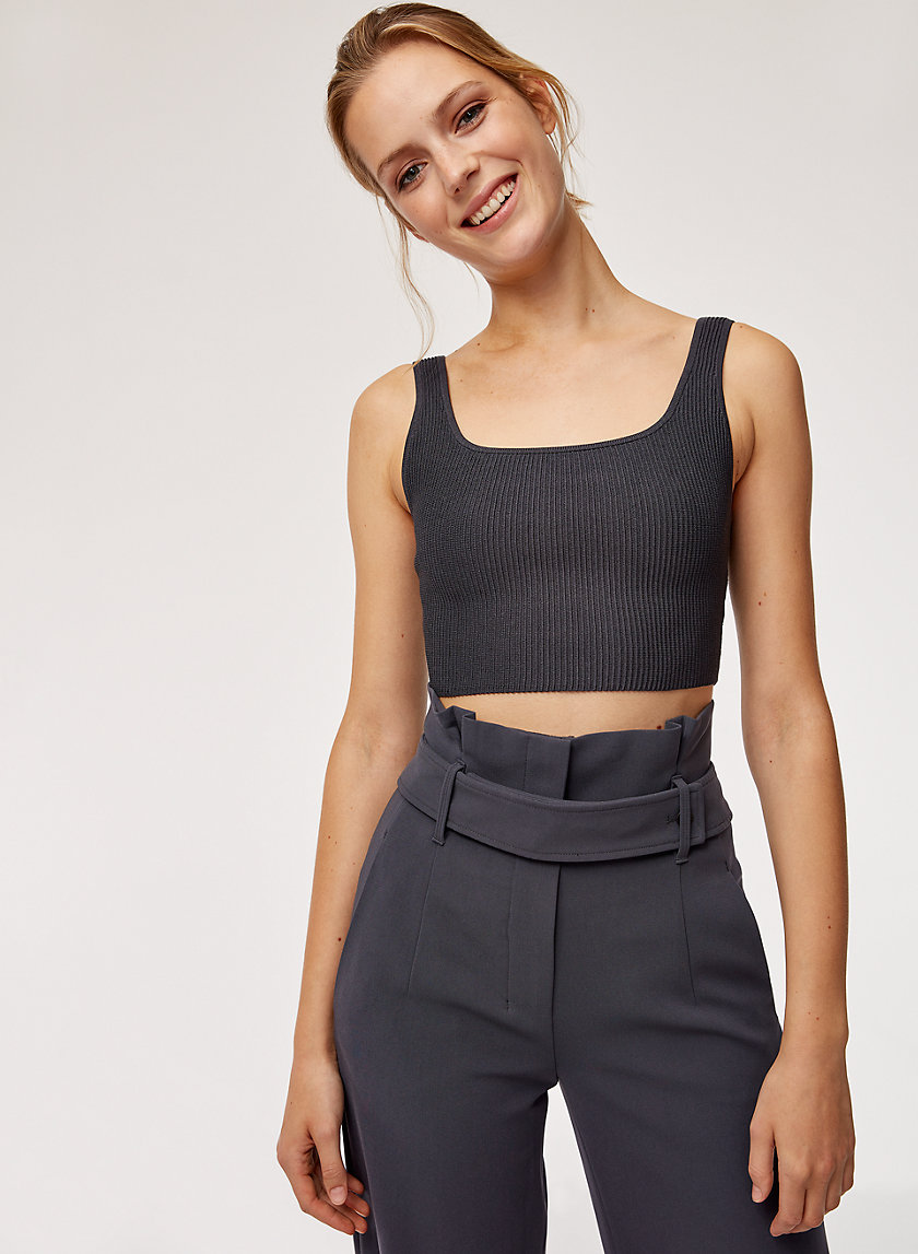 ARJUN KNIT TOP - Cropped, ribbed tank top