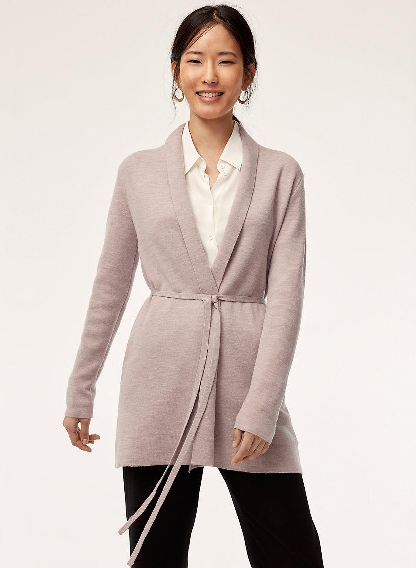KIRBY SWEATER SHORT - Merino-wool, belted cardigan