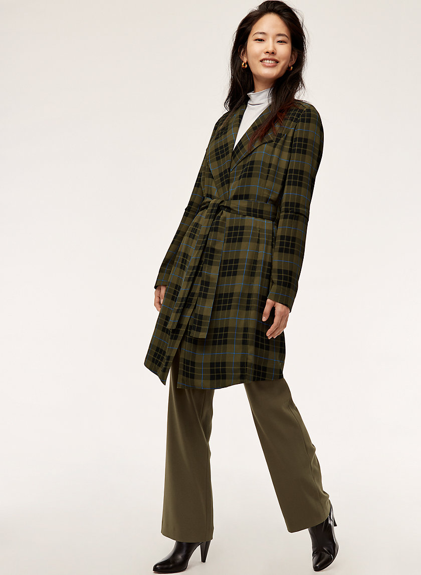 QUINCEY JACKET - Flowy Plaid Trench Coat