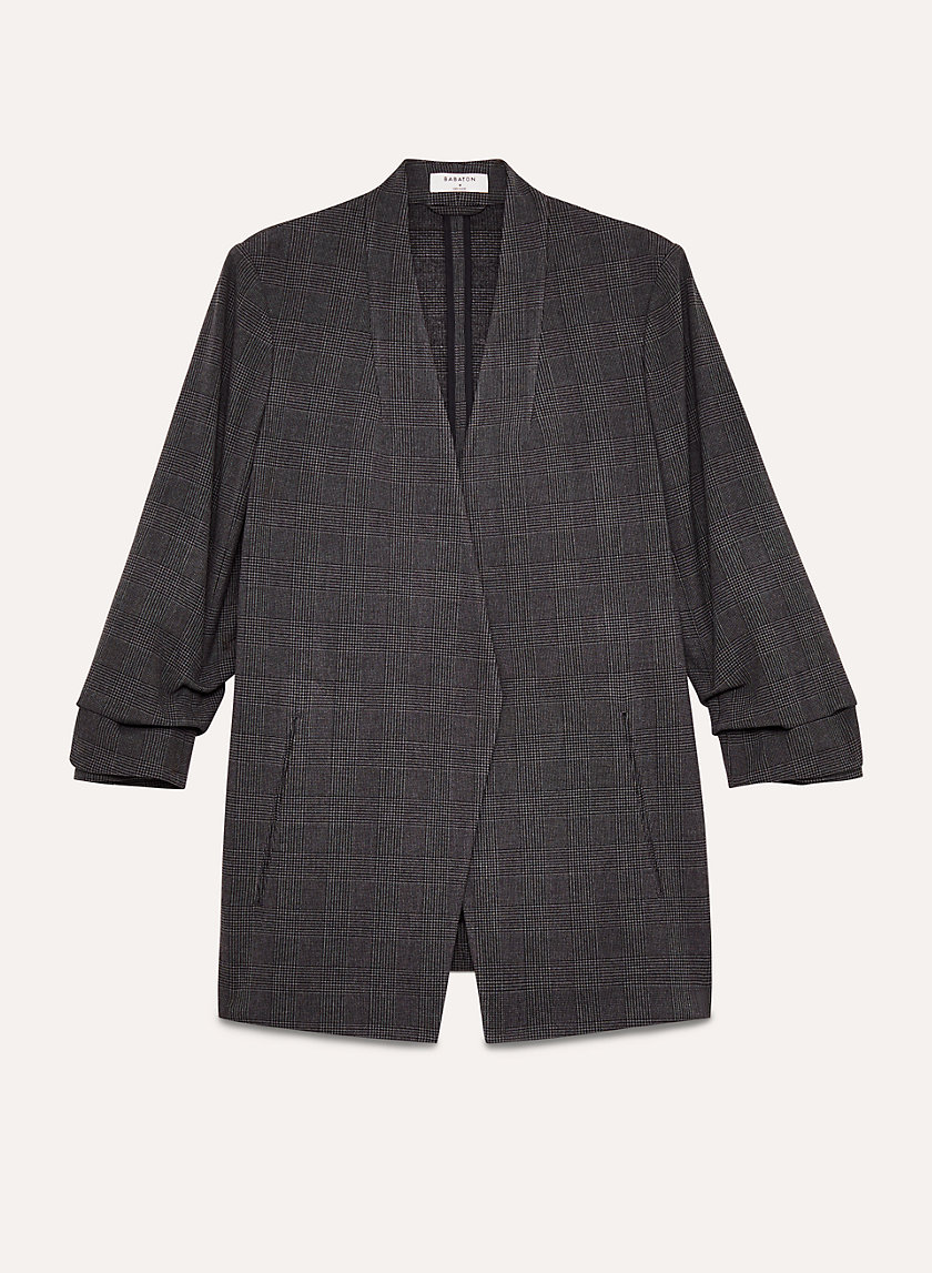 Macauley Blazer   Three Quarter Rolled Sleeve, Plaid Blazer by Babaton