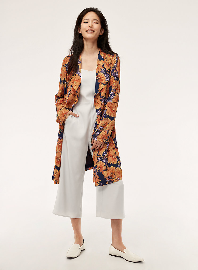 QUINCEY JACKET - Flowy printed trench coat