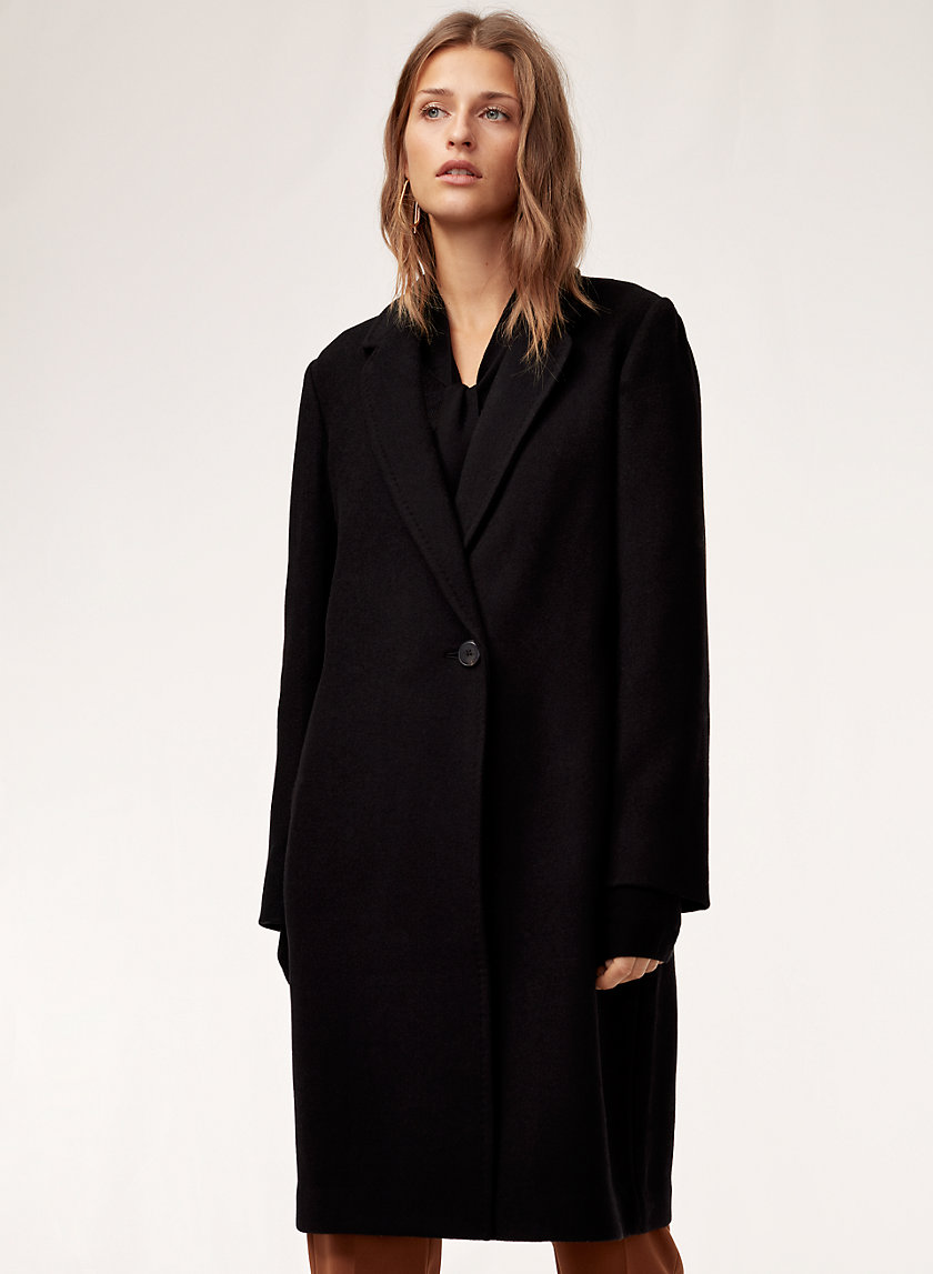 Stedman Wool Coat   Mid Length, Wool Blend Coat by Babaton