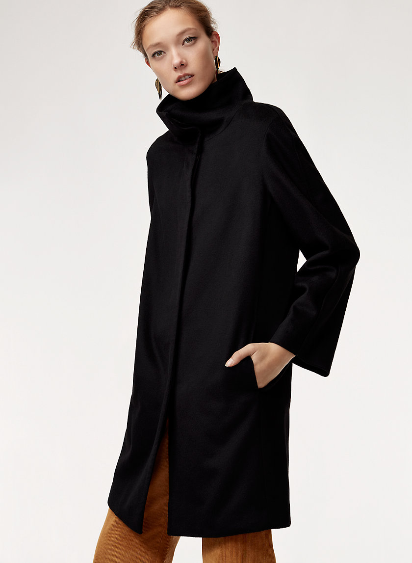 BRODY WOOL COAT - Funnel-neck cocoon coat