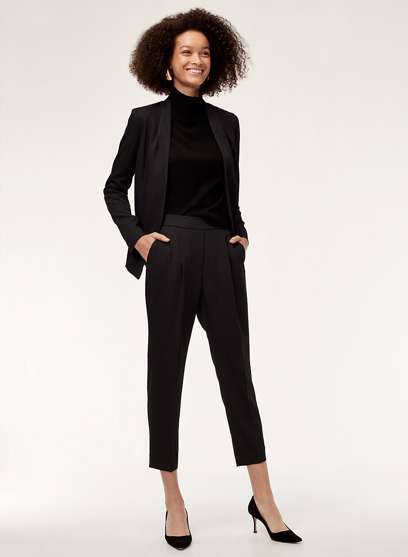 COHEN PANT PIQUE - Cropped, pleated dress pant