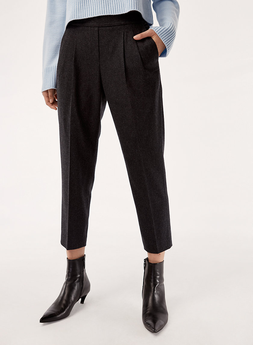 COHEN WOOL CASHMERE PANT - Cropped, pleated dress pant