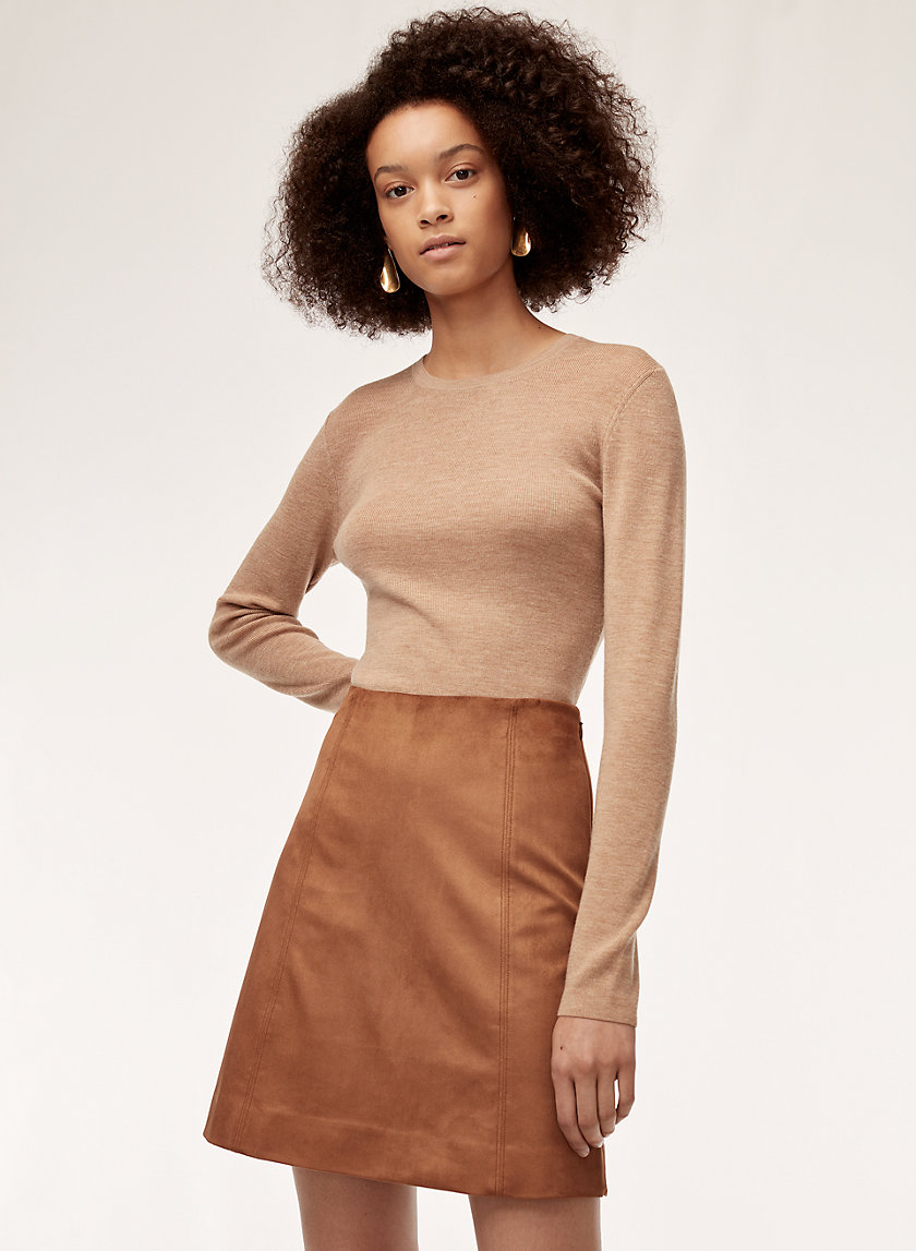 HOPPER SKIRT - Faux suede, A-line mini skirt