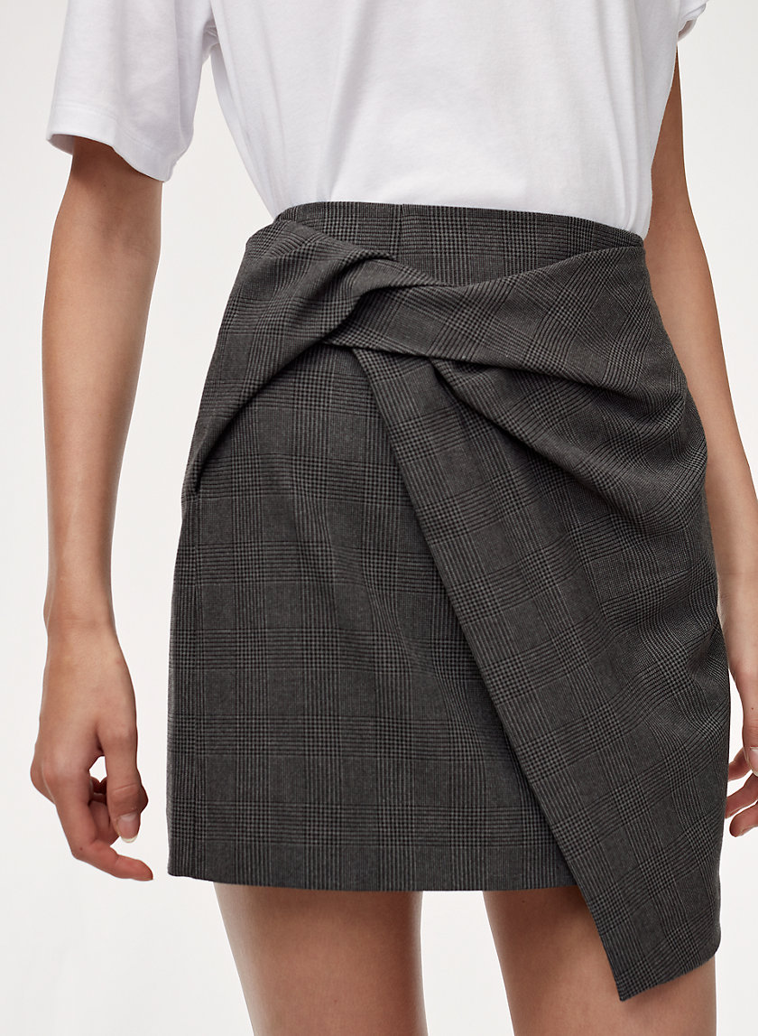 JETHRO SKIRT - Plaid, faux-wrap mini skirt