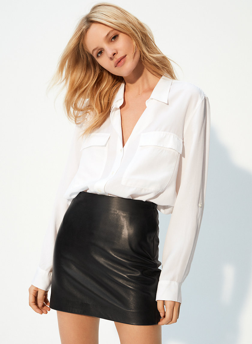 JOPLIN LEATHER MINI - Leather, a-line mini skirt