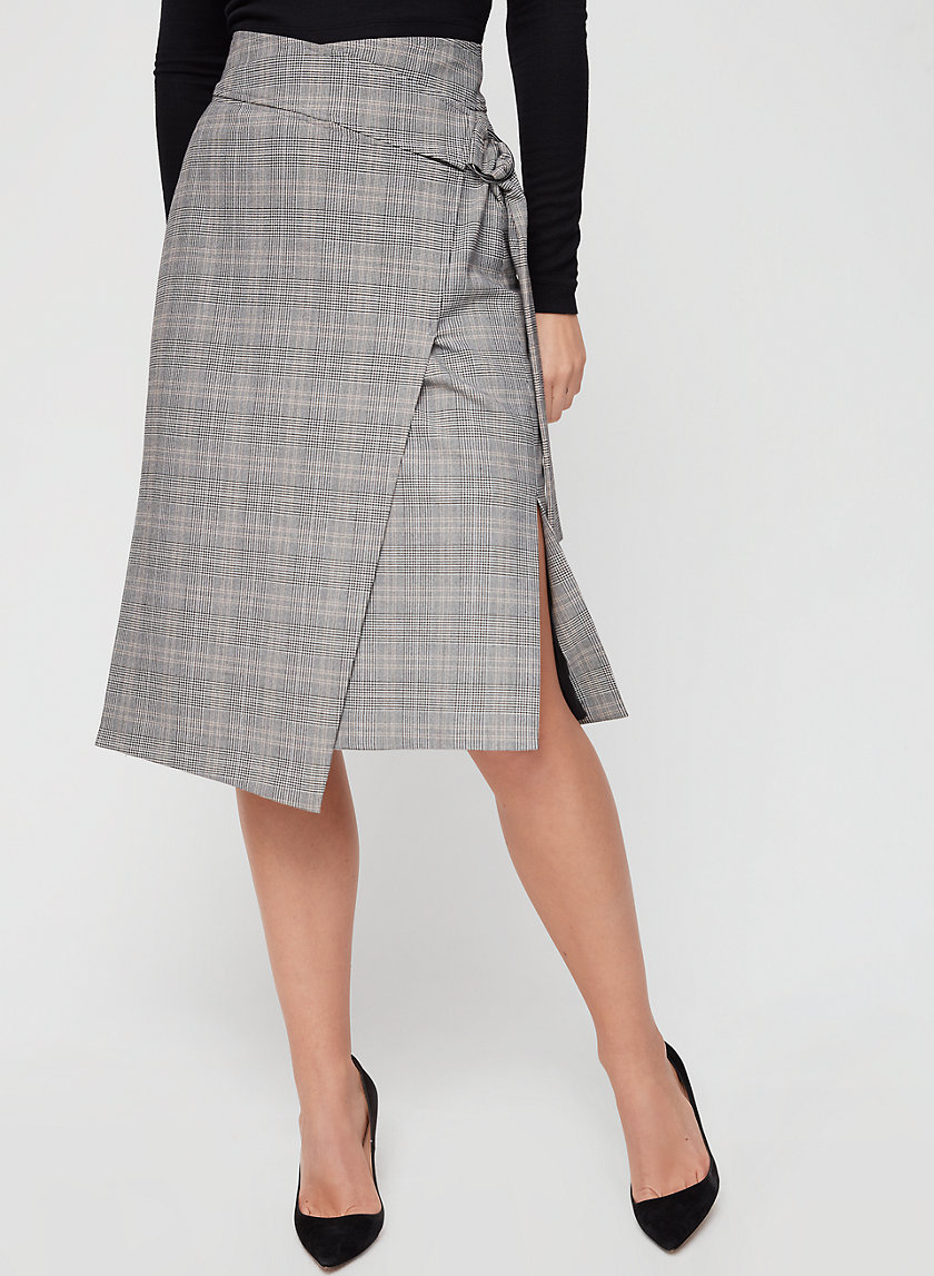 COSWAY SKIRT - Plaid, wrap midi skirt