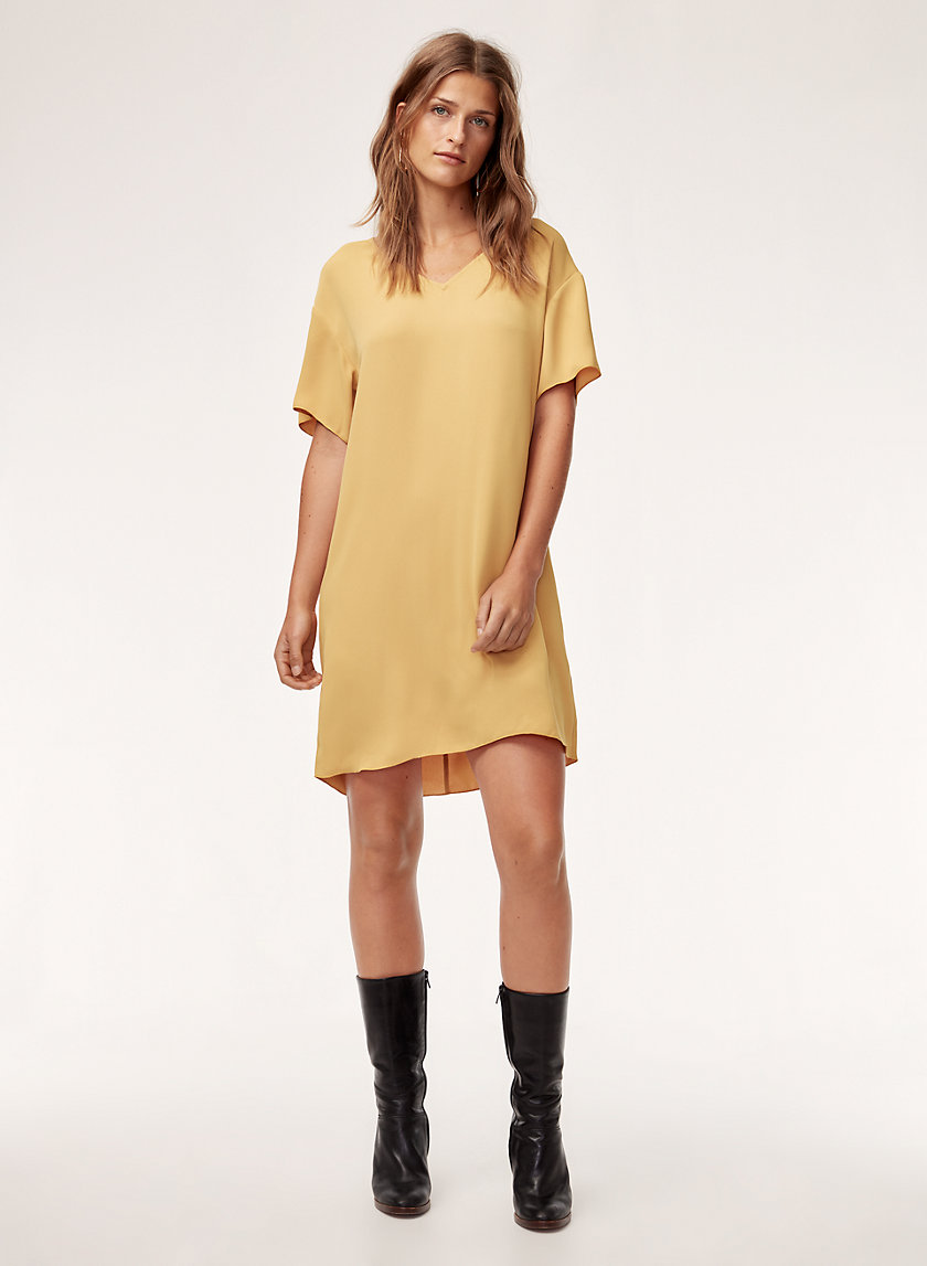 AARON DRESS - Silky-satin t-shirt dress