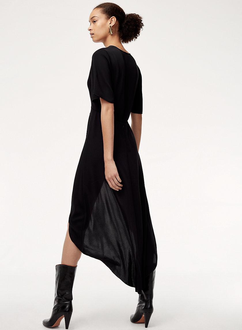 JEDD DRESS - High-low, faux-wrap dress