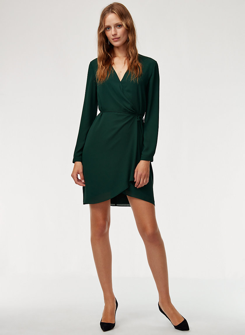 WALLACE DRESS LS - Long-sleeve, flowy wrap dress