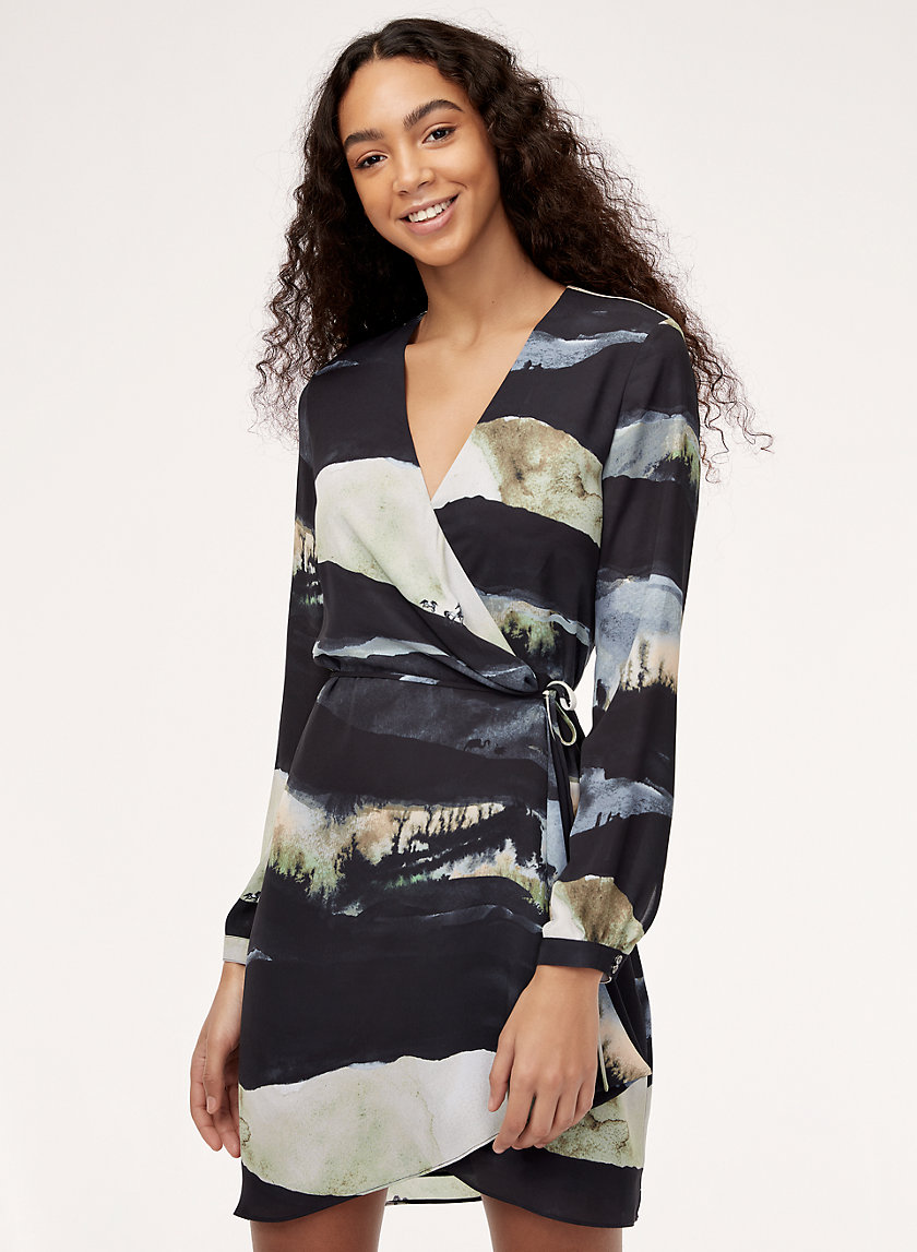 WALLACE DRESS LS - Long-sleeve, printed wrap dress
