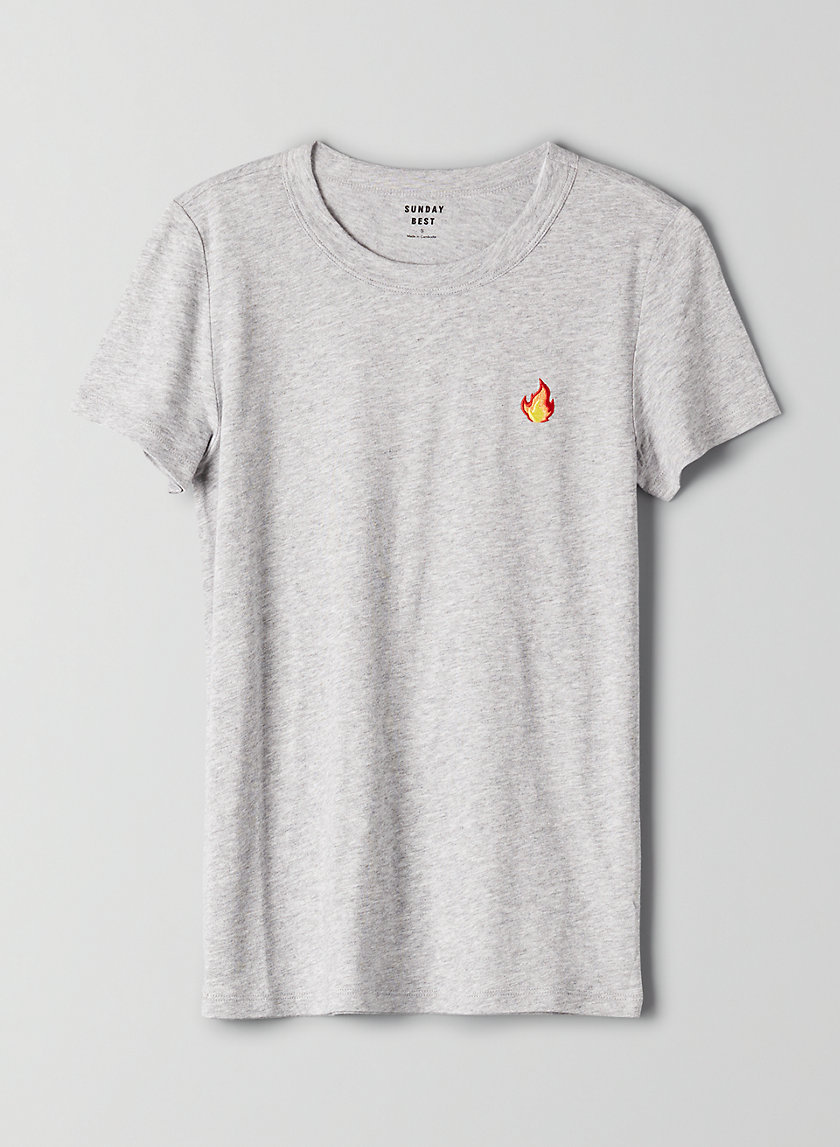 CANDY T-SHIRT - Embroidered flame T-shirt