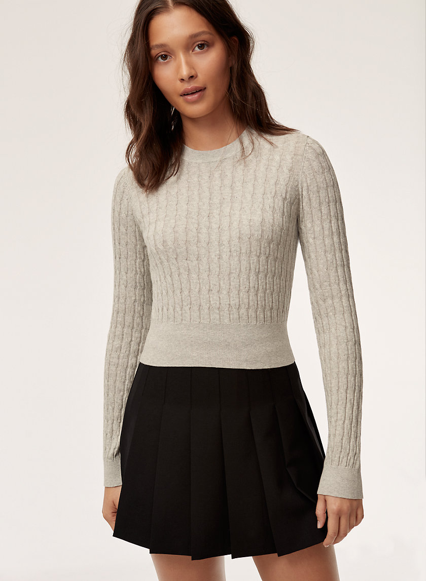 CINDY SWEATER - Cropped, cable-knit sweater