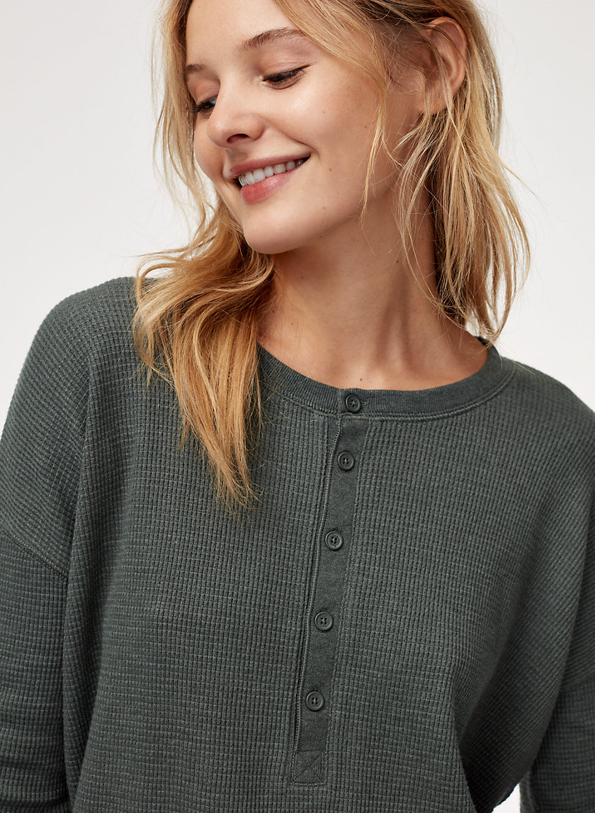 ELISSA THERMAL - Long-sleeve, button-up waffle knit