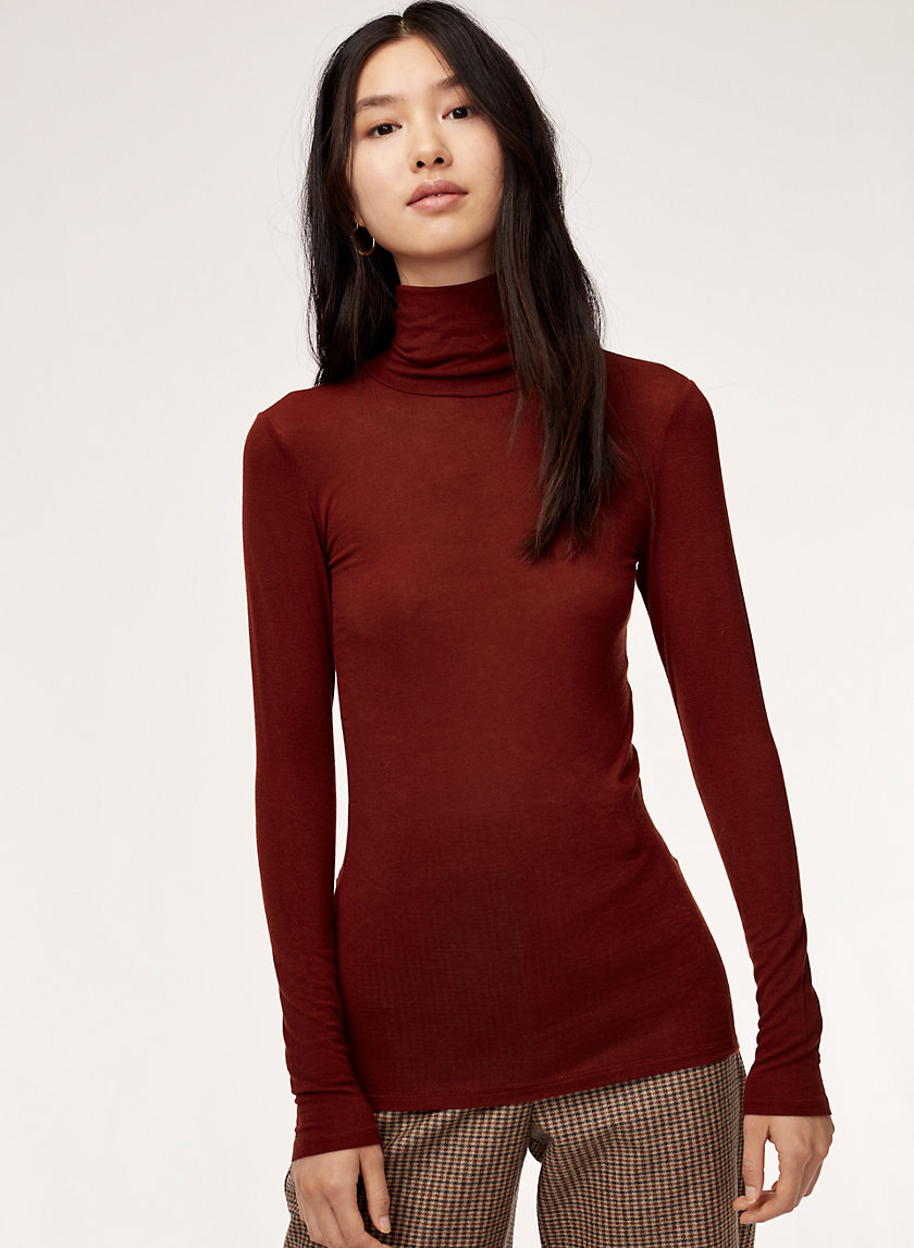HUET T-SHIRT - Ribbed turtleneck shirt