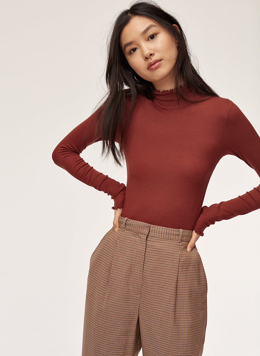 CARCO T-SHIRT - Ruffled, turtleneck shirt