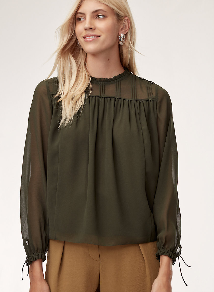 LOURDES BLOUSE - Long-sleeve, chiffon blouse