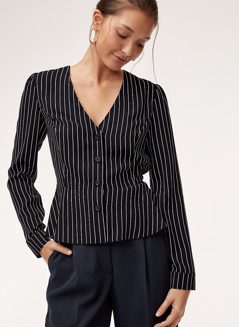 SABINA BLOUSE - Pinstripe, buttoned peplum shirt