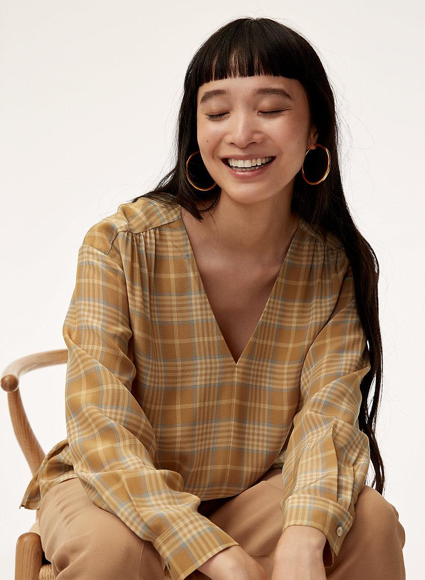 MACEE BLOUSE - Plaid silk blouse