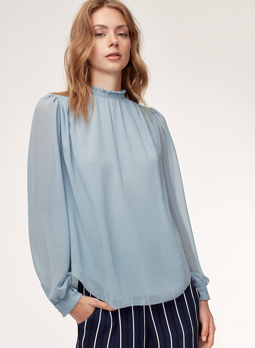 PAULA BLOUSE - Long-sleeve, mock-neck blouse