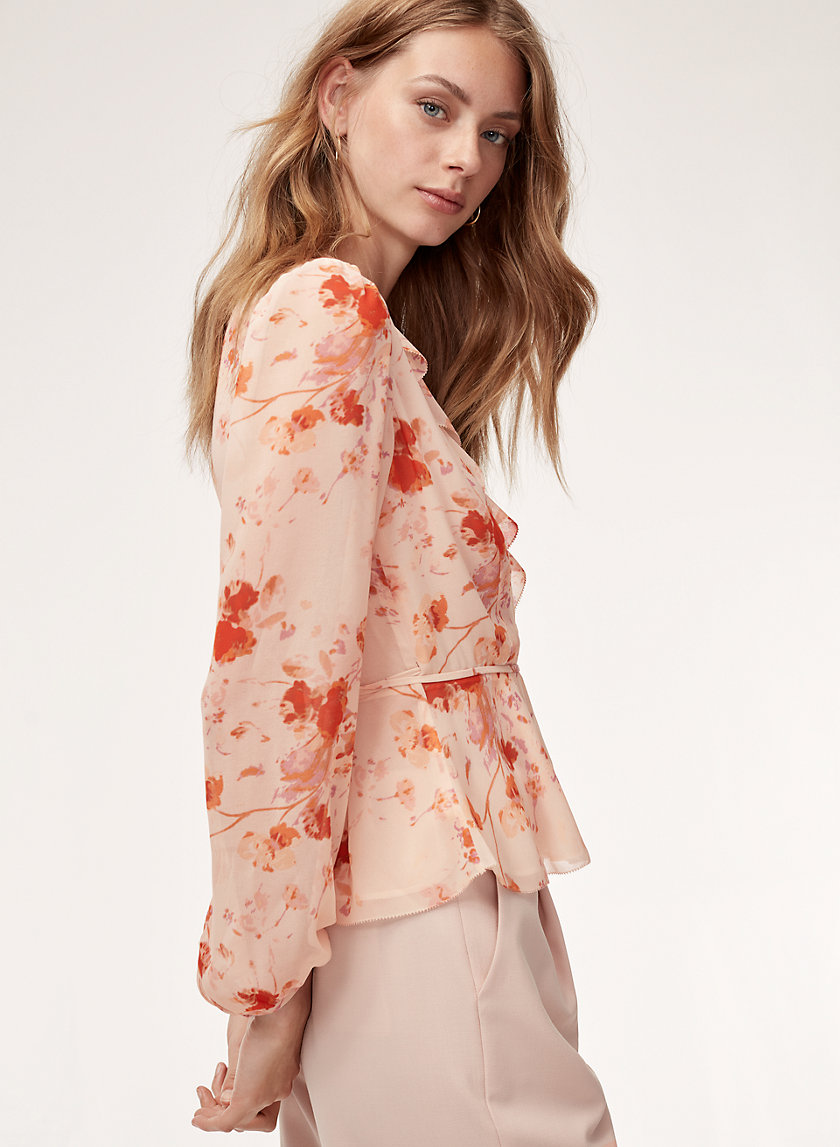 NADINE BLOUSE - Ruffled, floral wrap top
