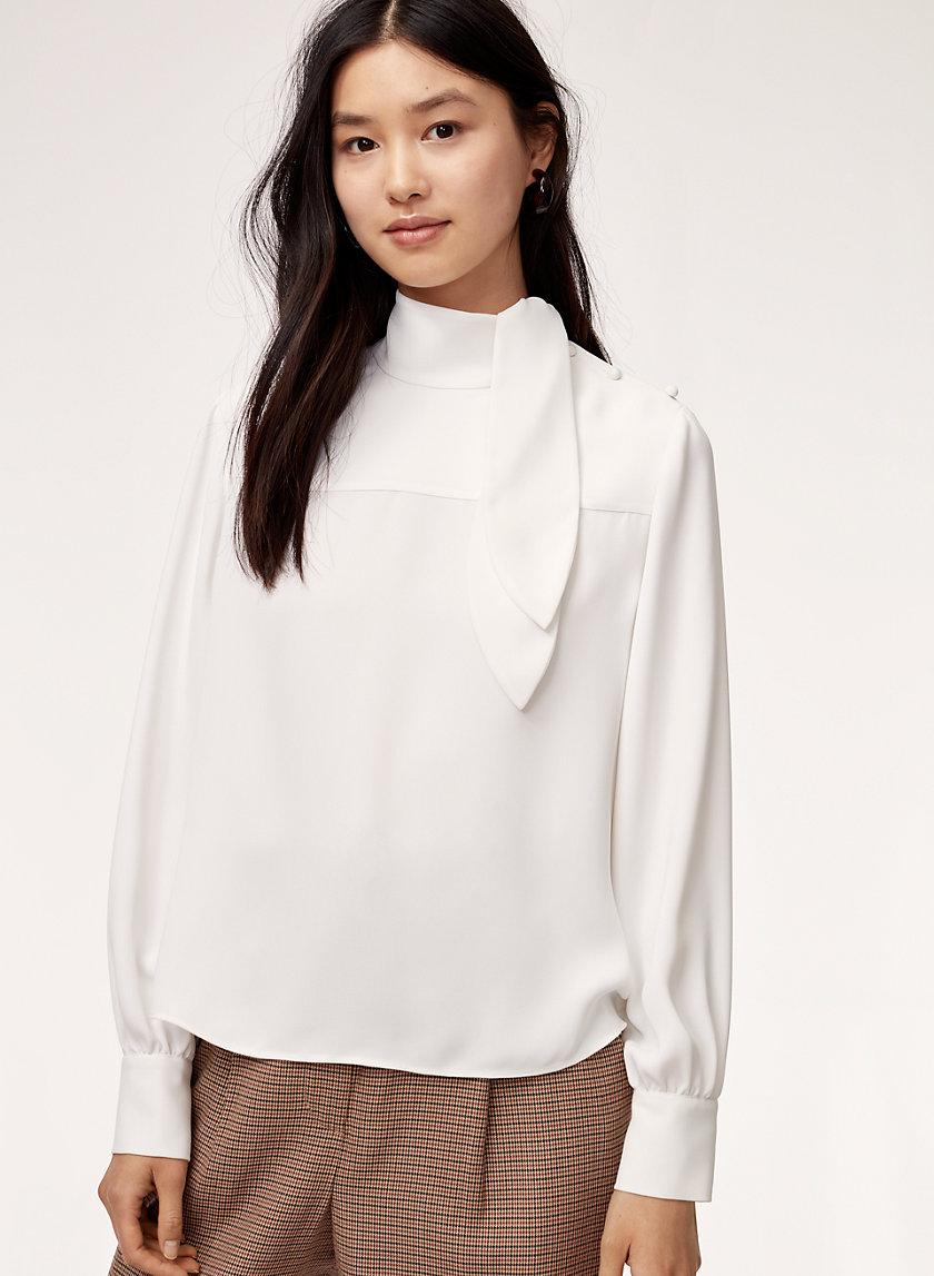CECILE BLOUSE - Long-sleeve, tie-neck blouse